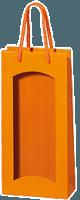 2er Papiertüte orange mit Streifenprägung und Folienfenster