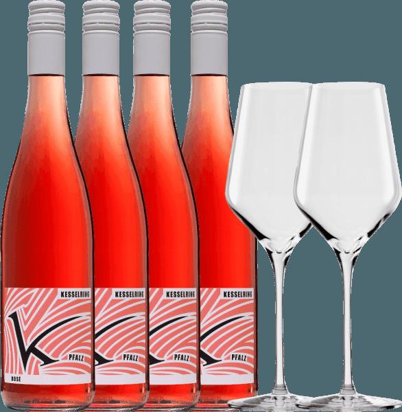 4er Paket Rosé & 2 Stölzle Quatrophil Gläser - Lukas Kesselring