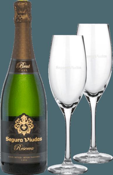 Valentinstags-Paket Reserva Brut inkl. 2 Cava-Gläser - Segura Viudas