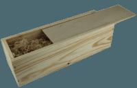 1er Wein-Holzkiste mit Schiebedeckel und Holzwollefüllung