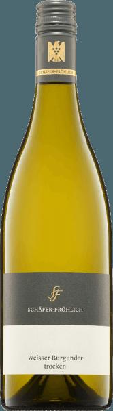 Der Weißburgunder Qualitätswein von Schäfer-Fröhlich präsentiert sich in einer hellen gelbgrünlichen Farbe im Weinglas.Die kühle Nase vermittelt Klarheit, Frische und erinnert an Steinobstfrucht. Am straff strukutrierten Gaumen ist eine dichte, salzige Mineralität mit reifem Apfel und Pfirsich mit Kräuterwürze zu verspüren. Eine Spur Cremigkeit rundet den Geschmack ab ehe er mit einem langen Abgang schließt.Ein sehr ausdrucksstarker, weicher Weißwein mit reifer Art, herrlicher Balance, Dichte, Kraft, Tiefe und Substanz. Wir empfehlen ihn zu Geflügel und weißem Fleisch.