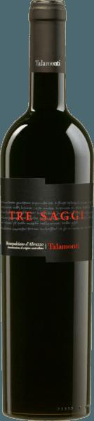 Der Tre Saggi Montepulciano d'Abruzzo DOC von Talamonti glänzt intensiv Rubinrot mit violetten Reflexen im Glas. An der Nase besticht er durch Aromen roter Früchte, Duft von Amarenakirsche und eine leichte Gewürznote, leichte Röstnoten von Haselnuss und Kaffee. Im Geschmack ist dieser Rotwein aus Mittelitalien trocken, mit rundem und weichem Körper und angenehm saftigen Tanninen. Langer, fruchtiger Abgang. Vinifikation des Tre Saggi Montepulciano d'Abruzzo von Talamonti Für diesen Rotwein werden 100% Montepulciano d'Abruzzo vinifiziert. Die Trauben werden selektiv gelesen und entrappt, anschließend bei kontrollierter Temperatur mazeriert. Die malolaktische Gärung findet in Barriques statt, in denen der Wein im Anschluß 12 Monate reift, bevor er noch weitere 12 Monate in der Flasche lagert. Erst dann kommt dieser intensive Rotwein in den Handel. Speiseempfehlung für den Tre Saggi von Talamonti Genießen Sie diesen herrlichen Rotwein aus den Abruzzen zu Braten, Wildgerichten und gereiftem Käse. Auszeichnungen für den Talamonti Tre Saggi Mundus Vini: Silber für 2015 I Vini di Veronelli: 3 Sterne & 90 Punkte für 2013 Wine Spectator: 88 Punkte für 2013 Gambero Rosso: 2 Gläser für 2013 Mundus Vini: Silber für 2013