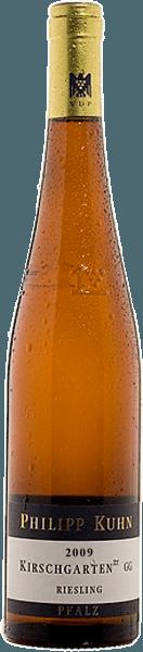 Der voluminöseLaumersheimer Kirschgarten Riesling trocken Großes Gewächs nach VDP Statut von Philipp Kuhnverwöhnt mit einer enorm zarten Mineralität, ein wenig Kräuterwürze und Anklängen von Zitrusfrüchten in der Nase. Der klare, feinsaftige Geschmack wird von einem kompakten Körper getragen. Eine Aromatik von mineralischer Steinobstfrucht und ein Hauch Fruchtsüße sorgen für ein lebendig frisches und tiefgründiges Gefühl.Herrlich ausgewogen und voller Harmonie ergießt er sich in den langen mineralischen und zugleich fruchtigen Abgang.