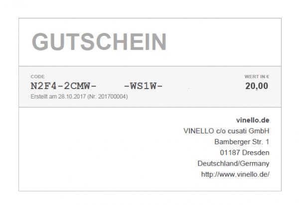 20 € VINELLO Geschenkgutschein SOFORTVERSAND via E-Mail von VINELLO