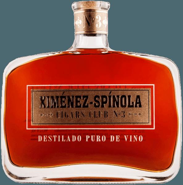 """Der Cigars Club No. 3 von Ximénez-Spinola erscheint im Glas in einem Kastanienbraun mit goldenen Reflexen. Dabei entfalten sich präsente und klare Aromen von Rosinen mit einer anhaltenden aromatischen Intensität. Dieser Brandy, welcher in amerikanischen Eichenfässern alterte, lässt eine spürbar kräftige und runde Holznote erkennen. Zigarrenempfehlung für den Cigars Club No. 3 von Ximénez-Spinola Bolivar Belicosos Finos Bolivar Royal Coronas Bolibar Peti Coronas Bolivar Tubos Nº1 Cohiba Línea Behike Cohiba Línea Clásica Cohiba Maduro 5 Cuaba Salomón Cuaba Diademas Cuaba Divinos Cuaba Generosos Cuaba Tradicionales José L. Piedra Conservas José L. Piedra Cazadores José L. Piedra Petit Cazadores José L. Piedra Cremas José L. Piedra Petit Cetros Montecristo Nº1 /Nº2 / Nº3 / Nº4 / Nº5 Montecristo Edmundo / Petit Edmundo Montecristo Double Edmundo Montecristo Petit Nº2 Montecristo Master Montecristo """"A"""" Montecristo Regata Montecristo Tubos / Petit Tubos Montecristo Especial Montecristo Especiales Nº2 Montecristo Junior Montecristo Joyitas Partagás (En Todas Sus Vitolas) Ramón Allones Specially Selected Ramón Allones Small Club Coronas Vegueros (En Todas Sus Vitolas)"""