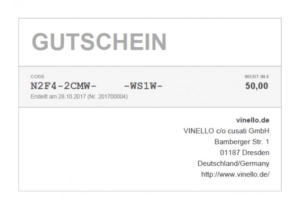 50 € VINELLO Geschenkgutschein SOFORTVERSAND via E-Mail von VINELLO