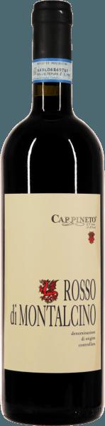Der Rosso di Montalcino von Carpineto leuchtet mit sattem Rubinrot und zarten, granatroten Reflexen im Glas. Diese Nase dieses sortenreinen Sangiovese begeistert mit feiner Kirschfrucht, ergänzt um etwas Holunder, eingelegten Sauerkirschen und weiterem dunklem Steinobst. Dunkle, blumige Nuancen von Veilchen und zart-kräutrige Anflüge ergänzen das elegante Bouquet dieses Rosso di Montalcino. Am Gaumen ist der Rosso di Montalcino von Carpineto samtig, rund und exzellent strukturiert. Die Fülle und Tiefe, die man bei großen Brunellos schätzt, wird bei diesem Wein schon spürbar. Eine vitale Fruchtsäure, verbunden mit stimmigen Tanninen geben diesem Rosso länge und klingen schön nach.  Wie wird der Rosso di Montalcino von Carpineto vinfiziert?  Die Trauben wachsen auf dichtem, lehmigen Boden, was ihnen besonders viel Kraft und Fülle verleiht. Nach der Lese werden die Trauben eingemaischt und nach 10-12 Tagen beim 25-30°C vergoren. Anschließend wird der Rosso di Montalcino für einige Monate zur Verfeinerung in kleinen Eichenholzfässern.  Was isst man zum Carpineto Rosso di Montalcino?  Zu diesem Sangiovese-Spitzenwein passt schon mal prinzipiell viel aus der toskanischen Küche. Lammkotelett vom Grill, Prosciutto und Fenchelsalami mit Vollkornbrot, gegrillte Zucchini und Auberginen oder auch Gnocchi mit Salbei und Butter kommen uns als erstes in den Sinn.  Prämierungen für den Rosso di Montalcino Gilbert & Gaillard: 90 Punkte für 2017 Wine Spectator: 90 Punkte für 2017